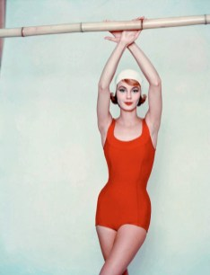 Model in a red swimsuit, 1958