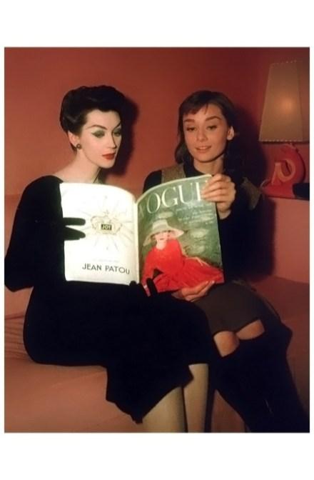 Dovima and Audrey Hepburn in 1957