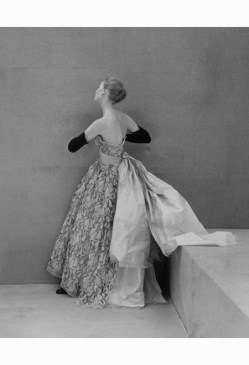 Nina de Voogt in evening gown by Balenciaga for Vogue October 1951