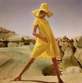 ca. 1952, Goreme, Turkey --- Model in Goreme, Turkey, wearing fly-front yellow linen smock by Hannah Troy. --- Image by © Condé Nast Archive/CORBIS