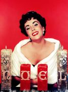 Circa 1960, Vintage colour transparency, Cinema: A Christmas portrait of the American actress Elizabeth Taylor (Photo by Popperfoto/Getty Images)