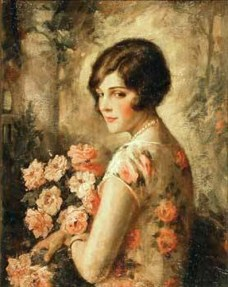 young-woman-in-rose-patterned-dress-by-edna-crompton