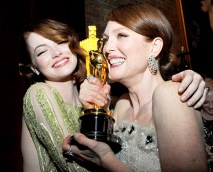 Emma Stone and Julianne Moore in 2015