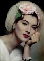 Tulle et voilette du soir by Jean Barthet, jewelry by Cartier 1957