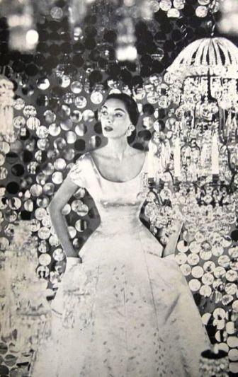 Satin evening dress by Adele Simpson, 1953