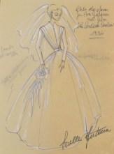 "Sketch of the wedding dress worn by Ava Gardner in ""Barefoot Contessa"""