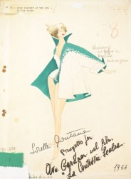 """Sketch of an outfit worn by Ava Gardner in """"Barefoot Contessa"""""""