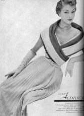 Jean Patchett in a wool jersey dress with a silk lined stole 1951