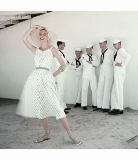 Model in Sundress with Sailors. 1954