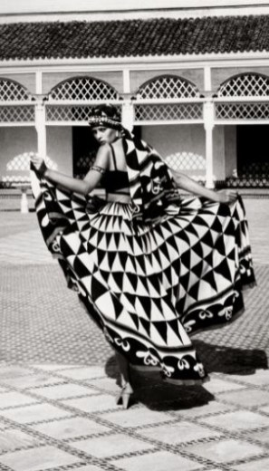 Model shot by Sacha Van Dorssen at the Bahia Palace, Marrakech for British Vogue 1973