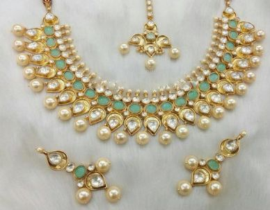 Mystic green kundan jewelry