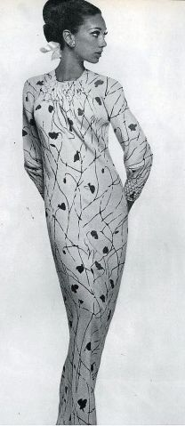 Marisa in one unbroken bias length of silk with smocked neck and cuffs by Galanos, photo by Bert Stern, Vogue 1965