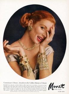 Vintage Monet Jewellery Ad - Suzy Parker 1956