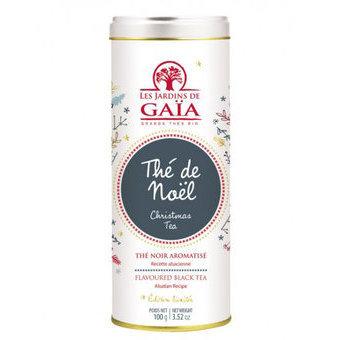 Thé de Noel by Les jardins de Gaia : Perfumed black tea (cinnamon, ginger, clove, black pepper, cardamom, apple, orange peels, hibiscus, almond and rosehip)