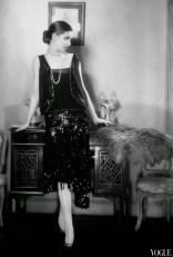 Model wearing a Chanel dress
