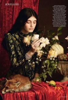ising star Emily Reda channels pre-Raphaelite paintings for the January 2018 issue of Harper's Bazaar UK