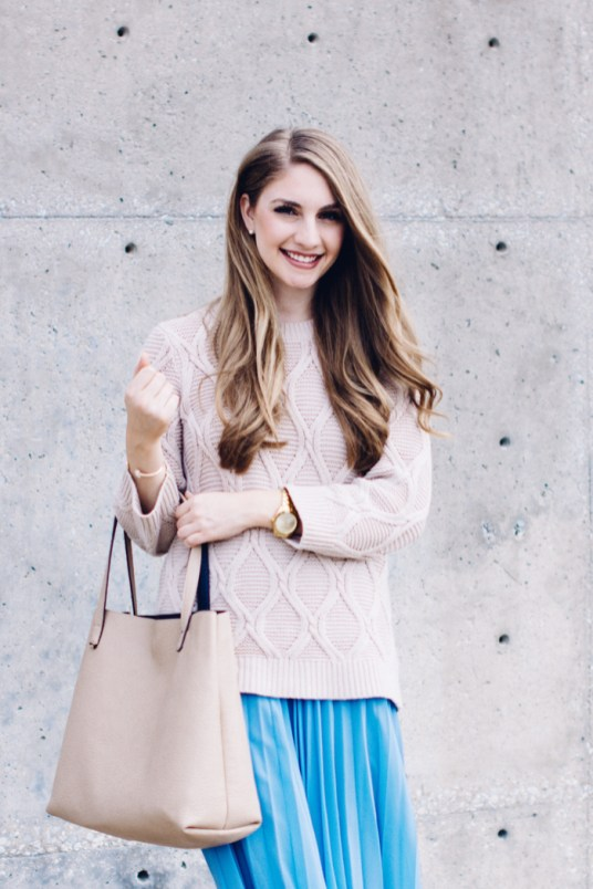 Cream Sweater with Serenity Pleated Skirt