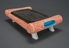 "Walking Tray, 2009, iron-rich stoneware, porcelain, mason stains, faux fur, flock, 4"" x 13.5"" x 8.5"" Magda Gluszek and Lindsay Oesterritter"