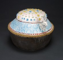 "Cupcake, 2009, iron-rich stoneware, porcelain, mason stains, faux fur, trim, 8.5"" x 10.5"" x 10.5"" Magda Gluszek and Lindsay Oesterritter"
