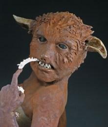 "Looking Sharp, 2007, terracotta/porcelain, 26"" x 20"" x 15"""
