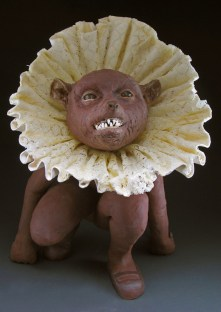 "Collared Crawler, 2007, terracotta/porcelain,wax,lace, 25"" x 14"" x 14"""