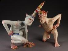 """Party Boys, 2013, stoneware, underglaze, glaze, paint, resin, elastic cord, candy, 12"""" x 13"""" x 10"""""""