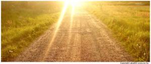 Unpaved Road among sunset