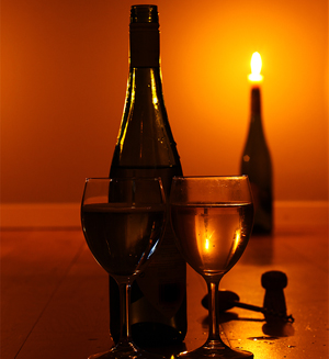 wine and a candle