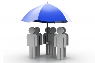 Group of people standing underneath a blue umbrella, group of people