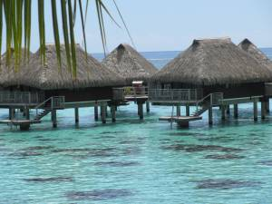 water bungalows in bora bora