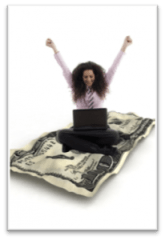 girl and money celebrating with computer