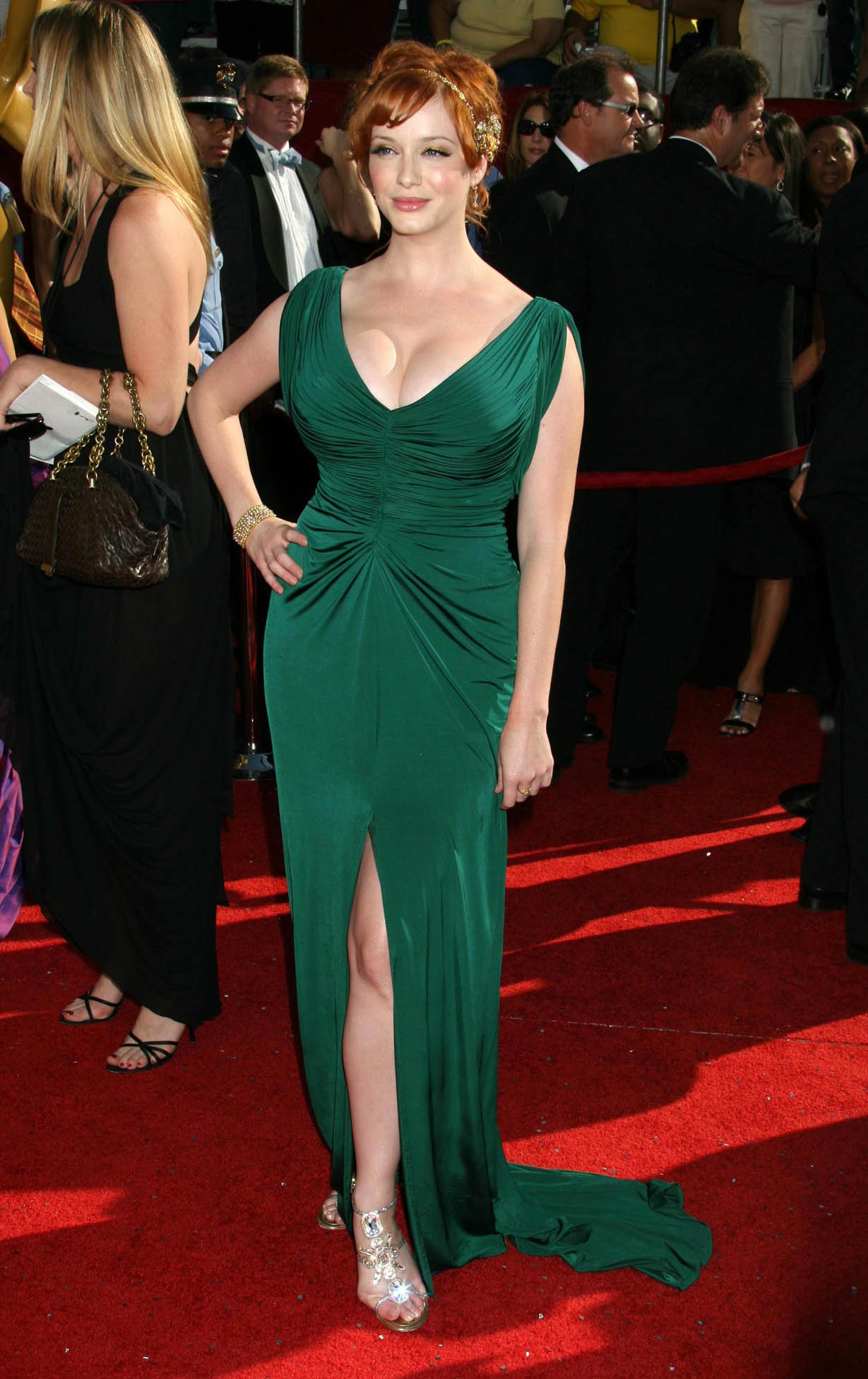 christina hendricks wearing green gown