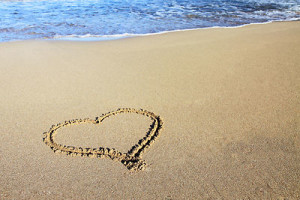 Petr Kratochvil, beach, heart in the sand