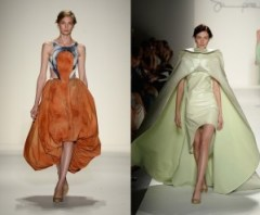 fashion week, runway models, orange dress, green dress, model