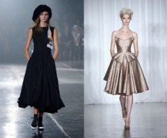 fashion week, black dress, metallic dress, runway model, model