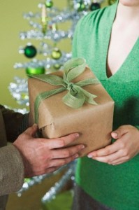 Couple exchanging gift