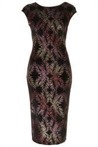 Glitter Leaf Midi Dress