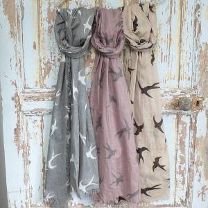 Swallow Print Scarves