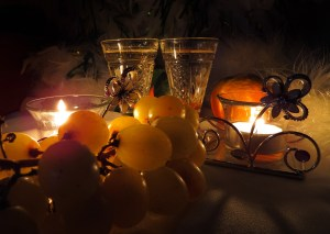 grapes, candels on the table
