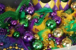 mardi gras beads and feathers
