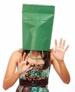 """""""Girl With Bag On Head Hiding"""" by Stuart Miles"""