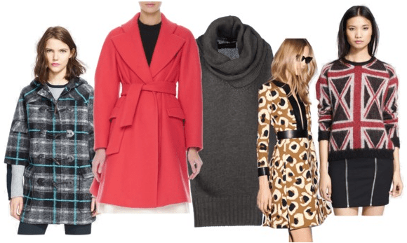 coats and sweaters (plaid, trench, cowl, leopard, and Union Jack)
