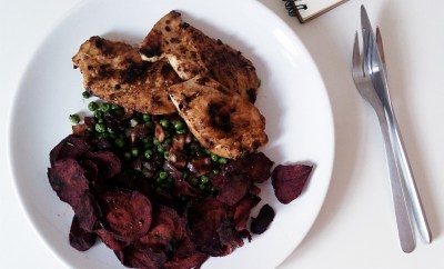 Fried chicken and beets