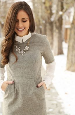 woman wearing a warm winter dress