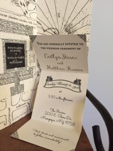 Insert featuring wedding info on the invitations