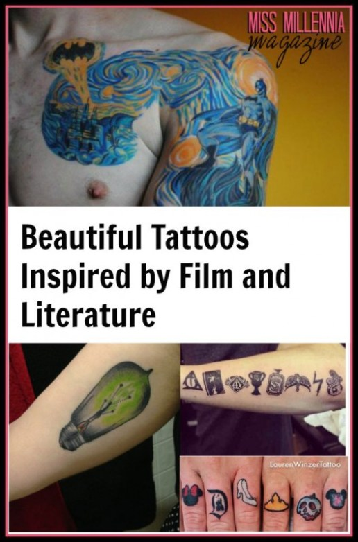 Beautiful Tattoos Inspired by Film and Literature Collage