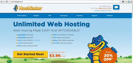 Host Gator main page