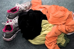 Bunch of workout clothes on floor
