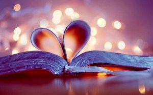 pages of book heart shape love