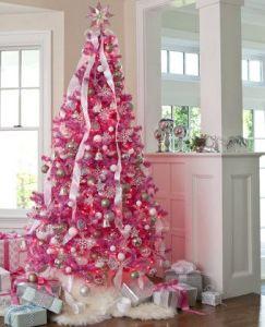 pink holiday season tree